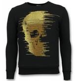 UNIMAN Rhinestone Sudaderas - Gold Skull  Sudaderas Hombre - Negro