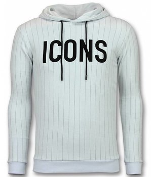 UNIMAN Striped Hoodie Hombre - ICONS Hoodie Hombres - Blanco