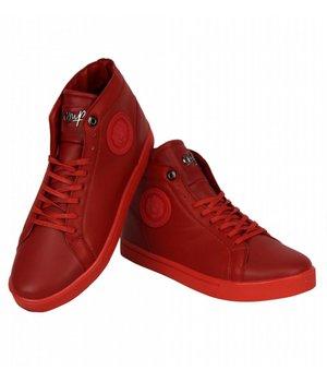 Cash Money Zapatos de Hombre - Zapatillas Casual Hombre Lion Rojo Plateado  - Rojo