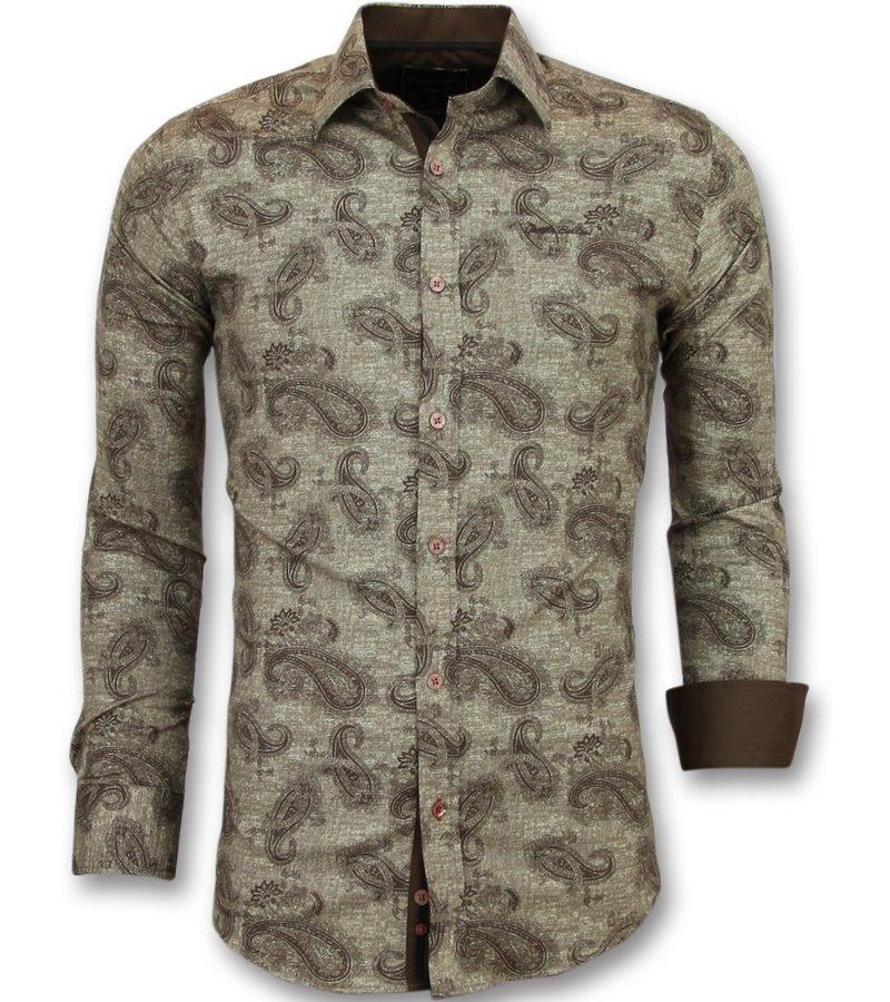 Gentile Bellini Camisas modernas para hombre - Modelos de camisas slim fit - 3001 - Castaño