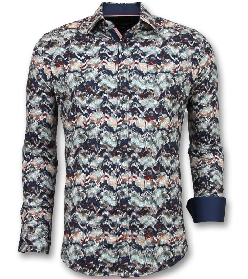 Gentile Bellini Moda italiana hombre marcas - Camisas modernas para hombre - 3008 - Azul