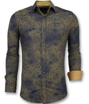 Gentile Bellini Camisas italianas de hombre - Camisas manga larga para hombre - 3009 - Azul