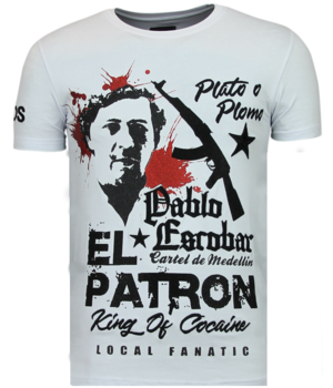 Local Fanatic Camisetas - El Patron Pablo - Rhinestone Camisetas - Blanco
