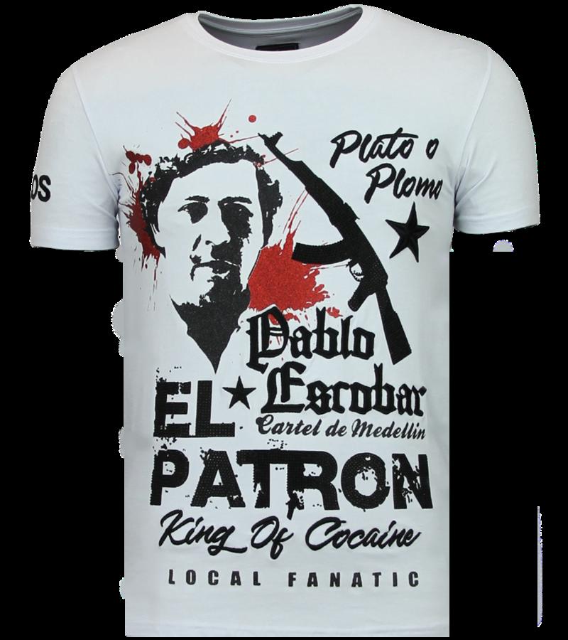 Local Fanatic Camisetas - El Patron Pablo - Rhinestone Camisetas - Blanco