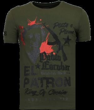 Local Fanatic Camisetas - El Patron Pablo - Rhinestone Camisetas - Verde