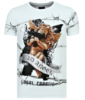 Local Fanatic Bad Angel Rhinestones - Camiseta Hombre - 6318W - Blanco