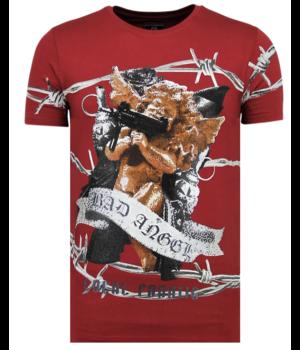 Local Fanatic Bad Angel Rhinestones - Camisetas Hombre - 6318B - Burdeos