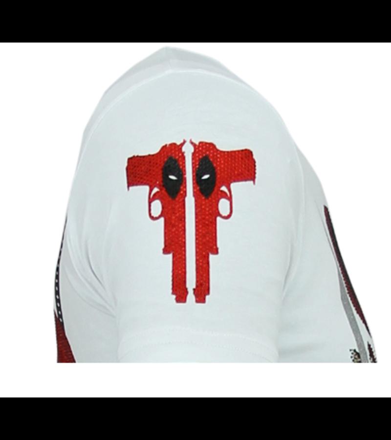 Local Fanatic Psycho Mouse Rhinestone - Camiseta Hombre - 6321W - Blanco