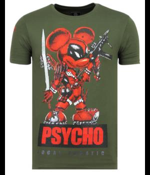 Local Fanatic Psycho Mouse Rhinestone - Camisetas Hombre - 6321G - Verde