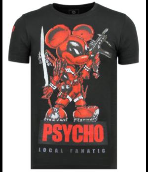 Local Fanatic Psycho Mouse Rhinestones - Camisetas Hombre - 6321Z - Negro
