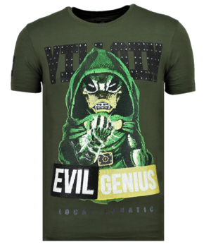Local Fanatic Villain Duck Rhinestones - Hombre Camisetas Moda - 6325G - Verde