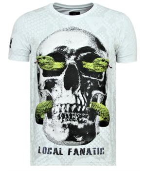 Local Fanatic Rhinestones Skull Snake - Originales Camisetas Hombre - 6326W -Blanco