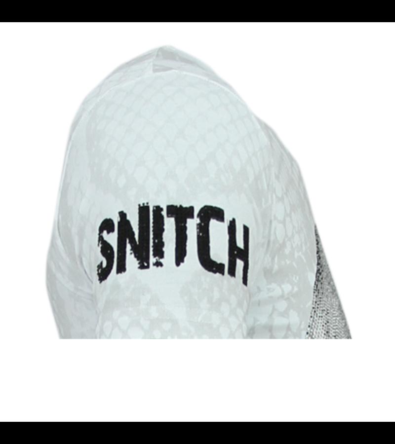Local Fanatic Rhinestones Skull Snake - Originales Camisetas Hombre - 6326W -Blanco