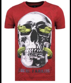 Local Fanatic Skull Snake Rhinestones - Originales Camisetas Hombre - 6326B - Burdeos