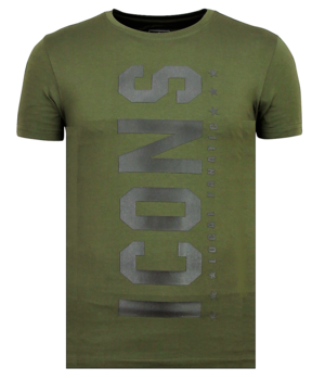 Local Fanatic ICONS Vertical Rhinestones - Camisas Para Hombre - 6362G - Verde