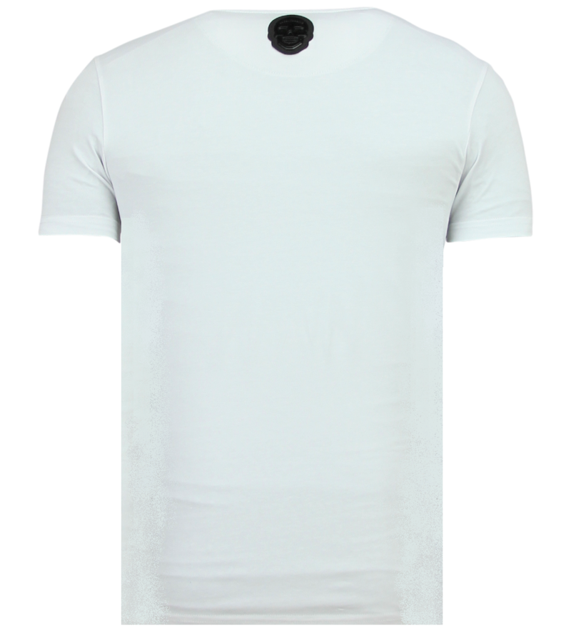 Local Fanatic Rhinestones Skull Glitter - Camisetas Hombre Calaveras - 6338W - Blanco