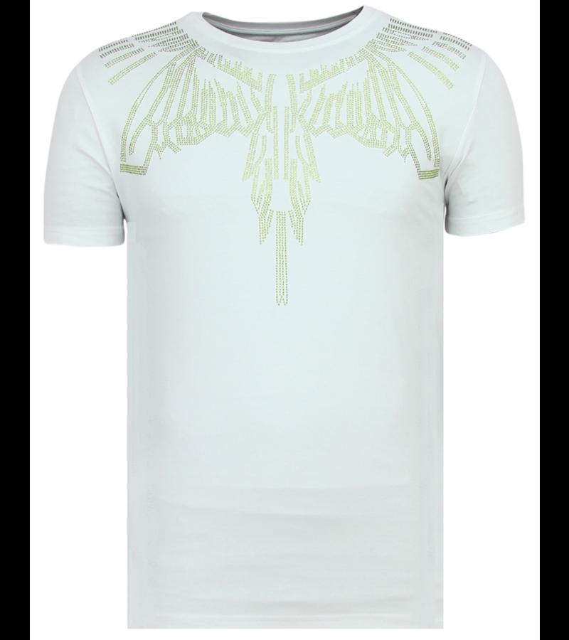 Local Fanatic Eagle Glitter Rhinestones - Camisetas Hombre - 11-6359W - Blanco