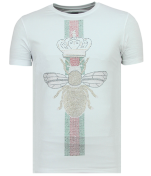 Local Fanatic King Fly Glitter Rhinestones - De Hombre Camiseta - 11-6360W - Blanco