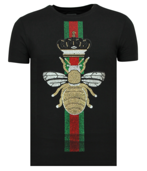 Local Fanatic King Fly Glitter Rhinestones - Camiseta De Hombre - 11-6360Z - Negro