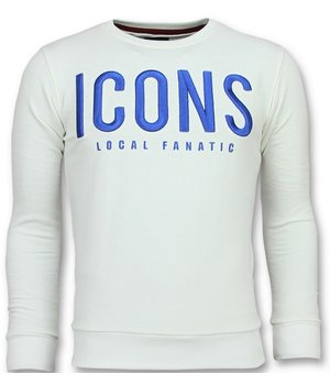 Local Fanatic ICONS Sudaderas de Marca - Hombre Sueter Para - 11-6349W - Blanco