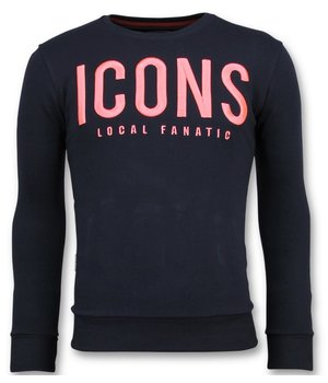 Local Fanatic ICONS Sudaderas de Marca - Hombre Sweater  - 11-6349N - Azul
