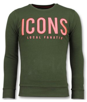 Local Fanatic ICONS Sudaderas de Marca - Sweater Hombre - 11-6349G - Verde