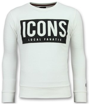 Local Fanatic Sudaderas Comprar - Rhinestones ICONS BLOCK - 11-6355W - Blanco
