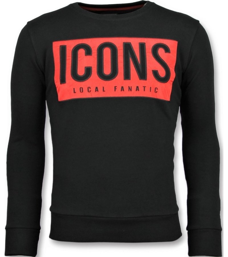 Local Fanatic ICONS BLOCK Rhinestones - Comprar Sudaderas - 11-6355Z - Negro