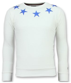 Local Fanatic Rhinestones Five Stars - Suéter de Los Hombres - 11-6354W - Blanco