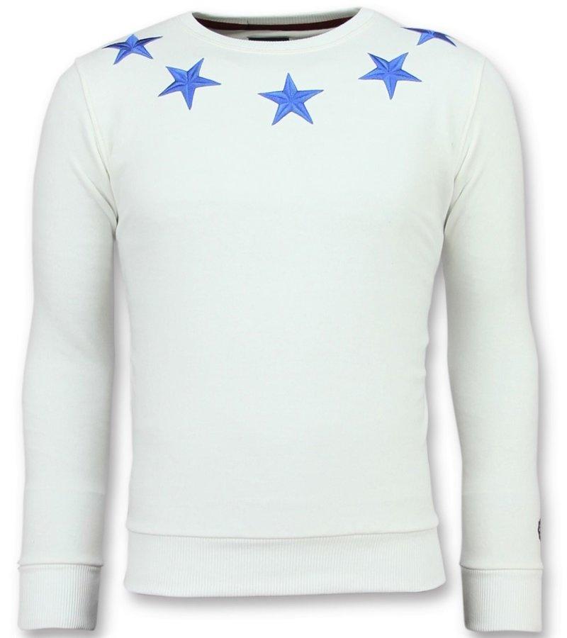 Local Fanatic Rhinestones Five Stars - Suéter de Los Hombres - 11-6354W - Blanco