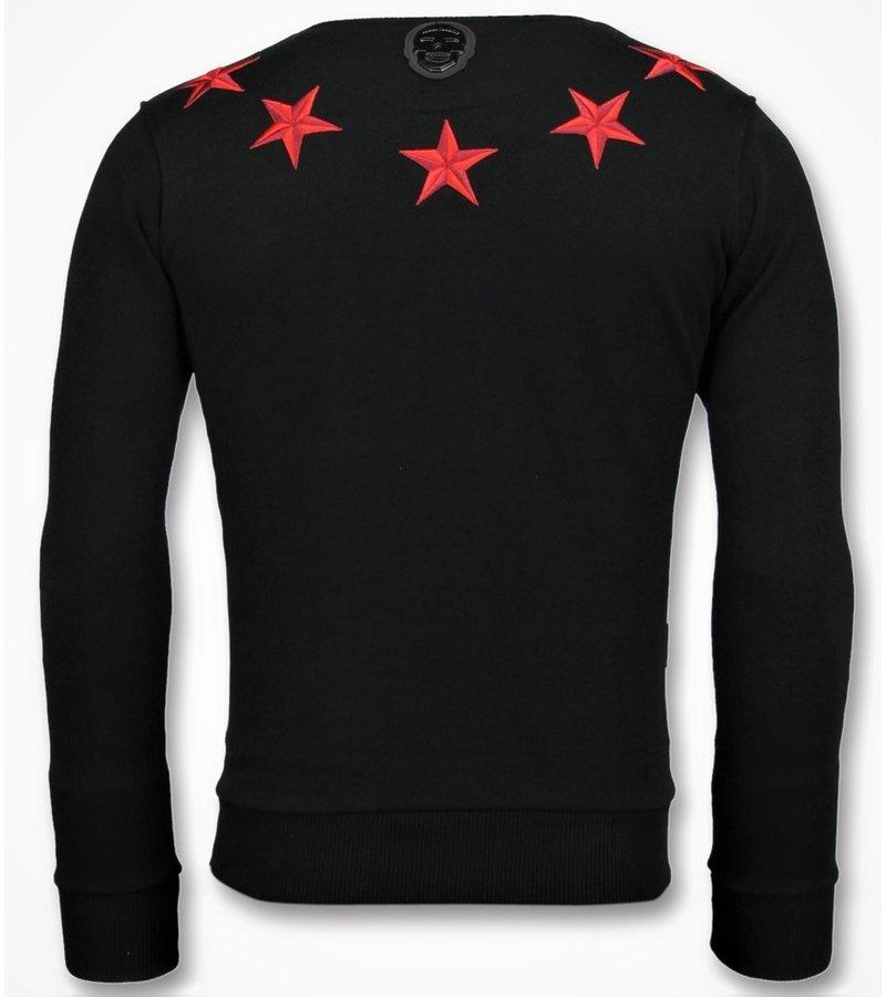 Local Fanatic Five Stars Rhinestones - Suéter de Los Hombres - 11-6354Z - Negro