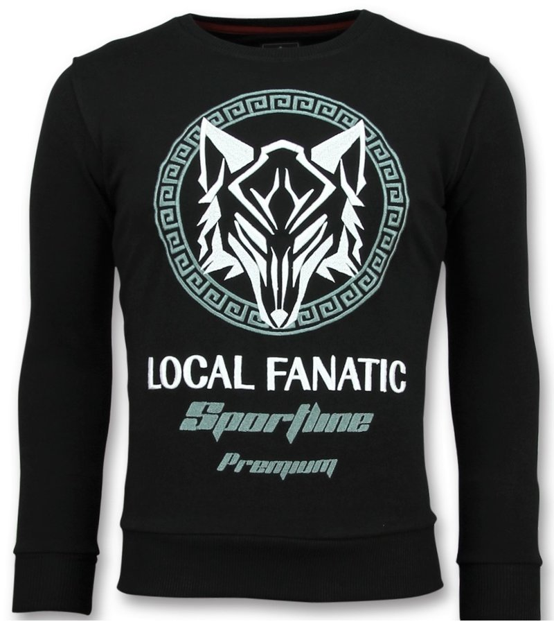 Local Fanatic Sportline Wolf Rhinestones - Suéter De los Hombres - 11-6357Z - Negro
