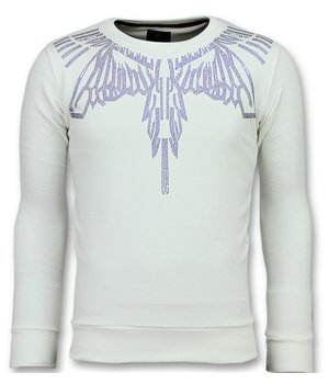 Local Fanatic Rhinestones Eagle Glitter - Sudaderas de Marca -  6340W - Blanco