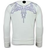 Local Fanatic Rhinestones Eagle Glitter - Sudaderas de Marca -  6340W - Blanco