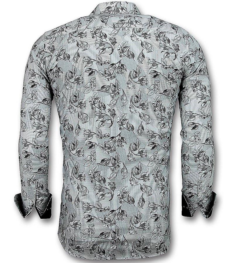 Gentile Bellini Camisas Casuales Para Hombre - Flower Motivo - 3018 - Blanco