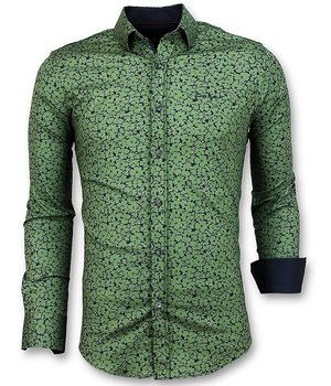 Gentile Bellini Camisa De Hombre Estampado Vegetal - Slim Fit Camisa - 3025 - Verde