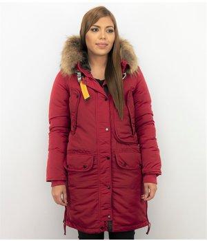 Macleria Parkas Mujer - Parkas Cuello de Piel - Chaqueta Acolchada - Rojo