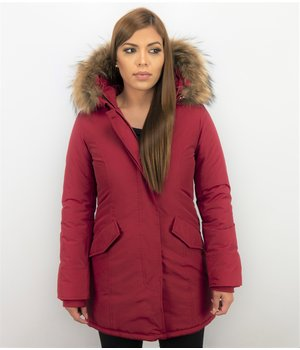 TheBrand Parkas Mujer - Mujeres Wooly Long De Invierno Largo - Parka Bolsillos - Rojo