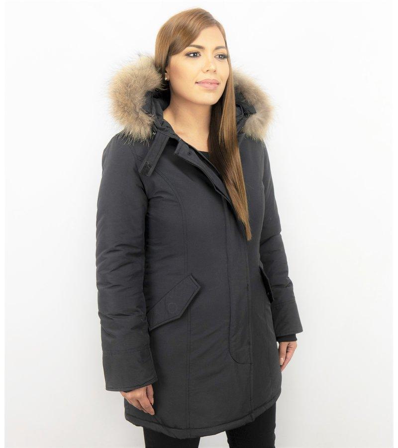 TheBrand Parkas mujer - Mujeres Abrigos de Invierno - Capucha pelo - Long Wooly - Negro