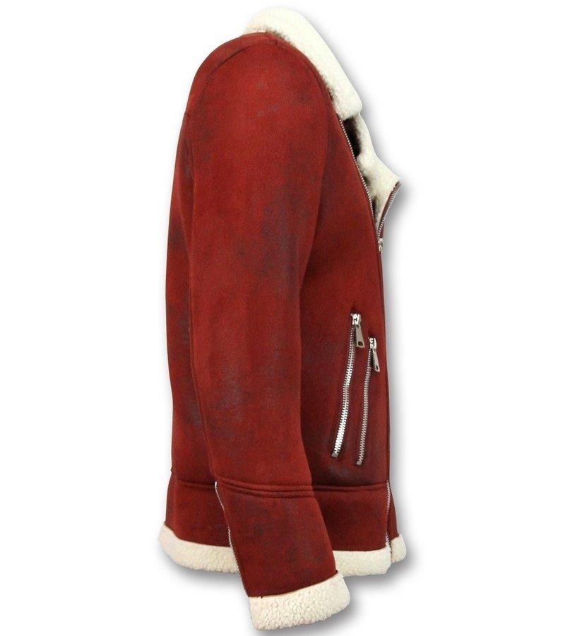Frilivin Abrigo De Piel Artificial - Lammy Coat - Rojo