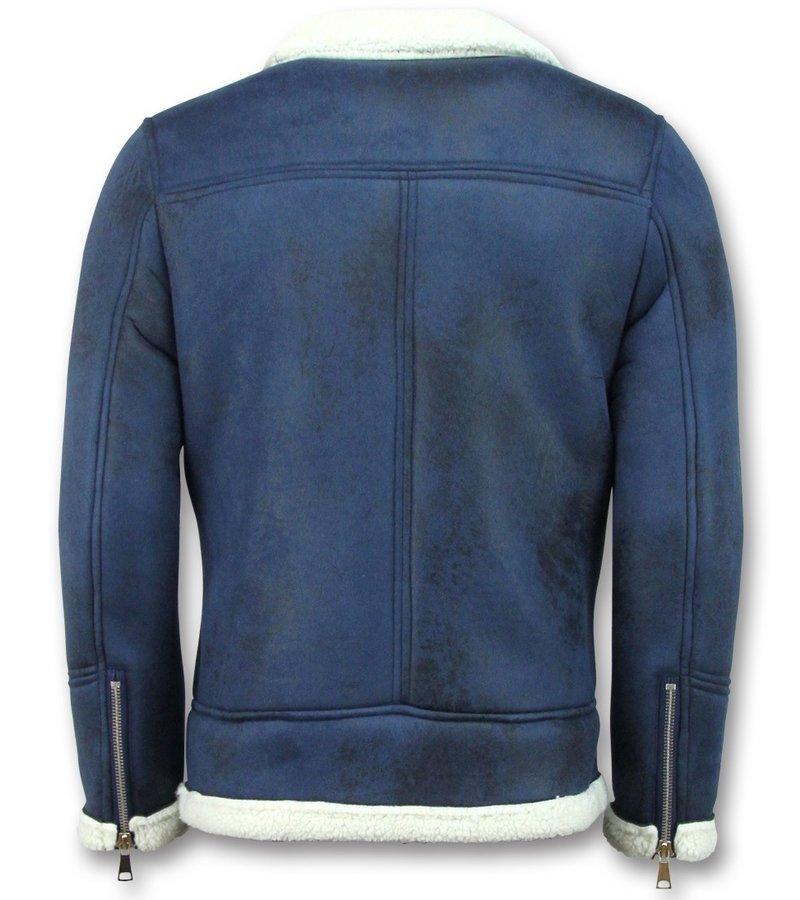 Frilivin Abrigo De Piel Artificial - Lammy Coat Hombre - Azul