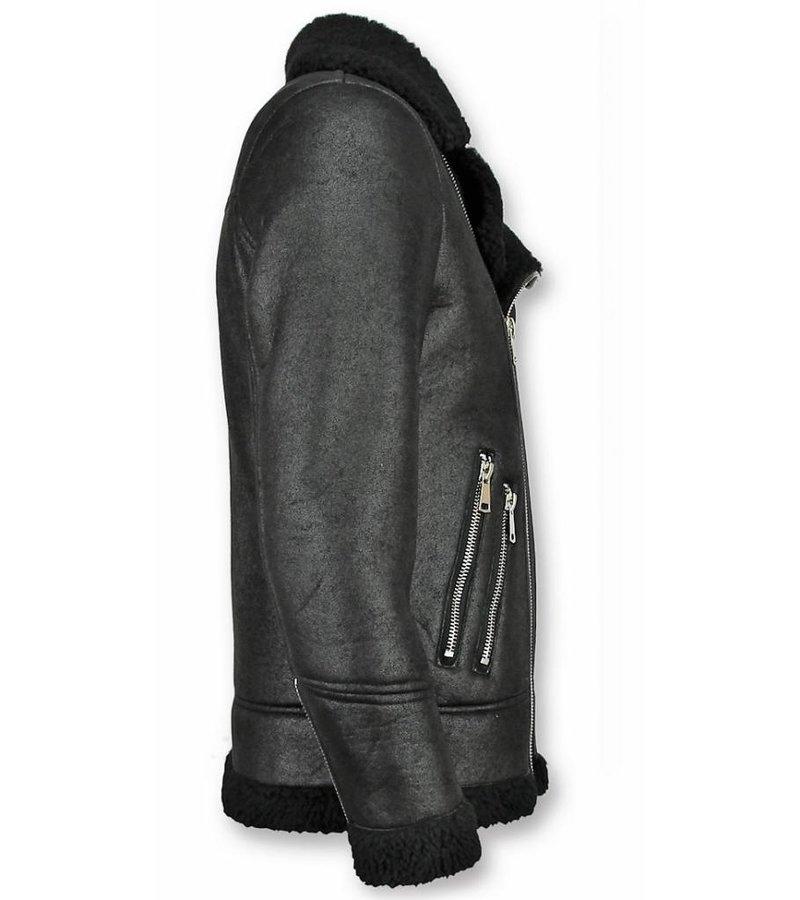 Frilivin Imitation Fur Coat Hombres - Lammy Coat Faux Fur - Negro