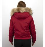 Macleria Chaqueta Corta De Invierno Para Mujer - Con Cuello De Piel Grande - Rojo