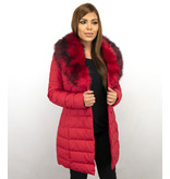 Adrexx Parka Chaqueta De Invierno Para Mujer - Cuello Rojo De Piel - Rojo