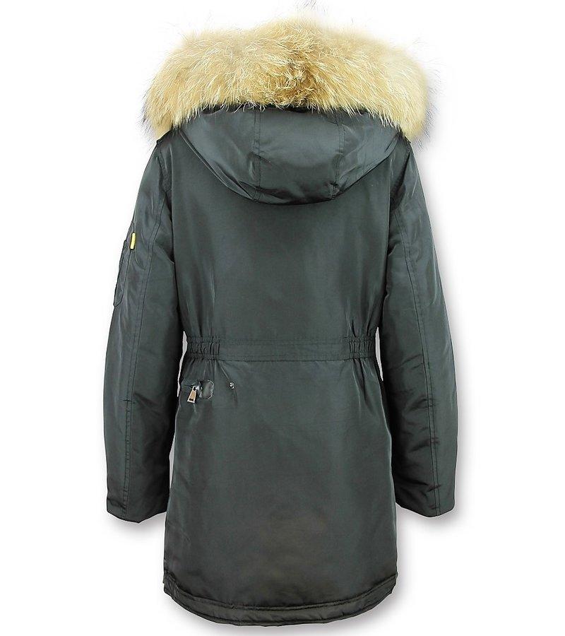 Macleria Parka Larga Chaqueta de Invierno Damas - Con Cuello de Piel - Negro