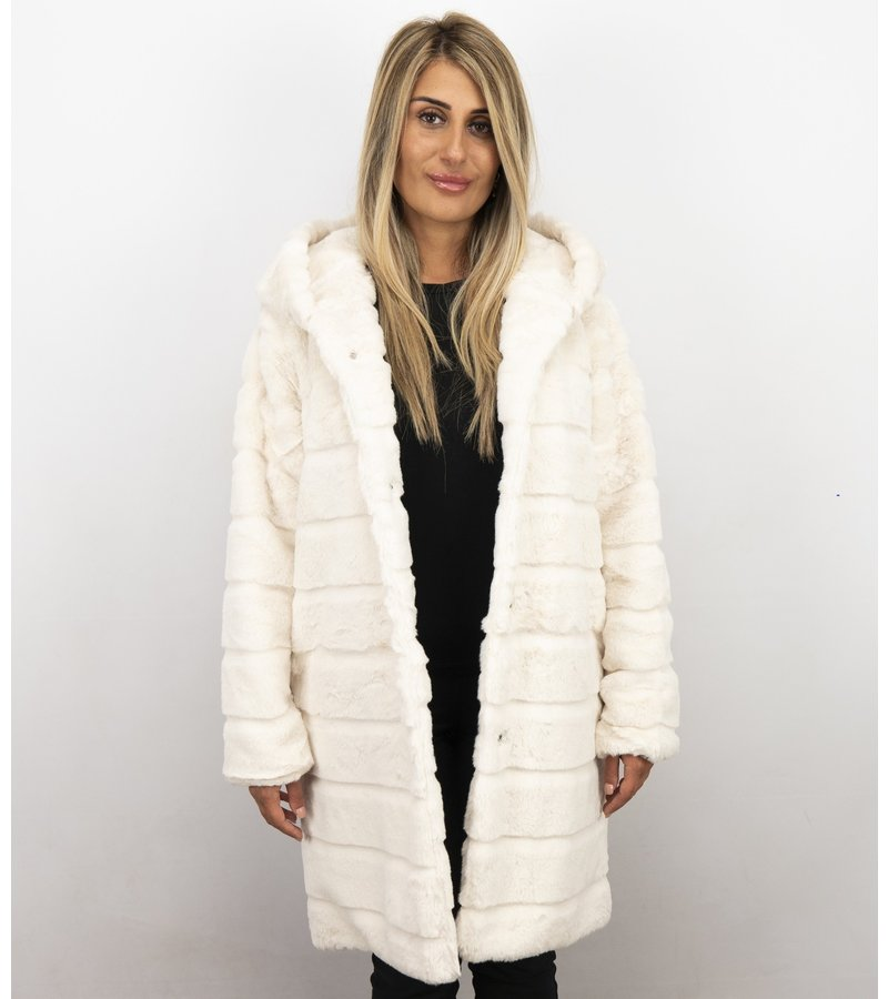 Save Style Abrigo De Piel Sintética Mujer - Parka Mujeres - Blanco