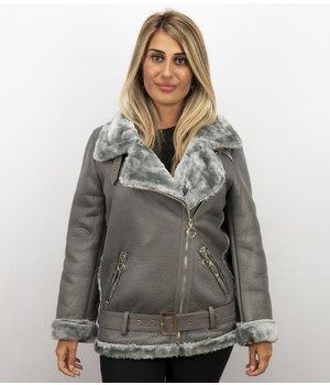 Z-design Lammy Coat Señoras - Mujeres De Invierno - Gris