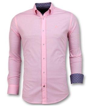 Gentile Bellini Camisas De Hombre Italiano - Blanco Blusa - 3032 - Rosa