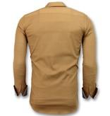 Gentile Bellini Camisas Italianas Blanco Para Hombres - Slim Fit - 3033 - Marrón