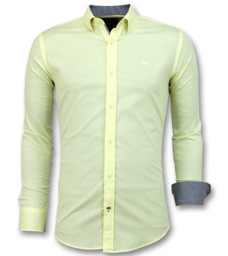 Gentile Bellini Blusa Italiana en Blanco - Manga Larga Para Hombre - 3035 - Amarillo